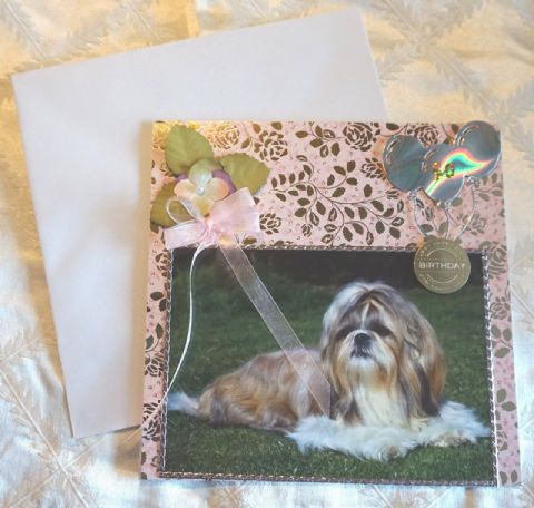 SHIH TZU GREETINGS CARD HAND MADE TO ORDER, PERSONLISED, ANY OCCASION ANY COLOUR